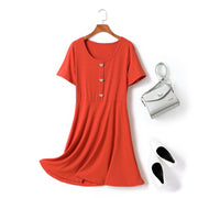 Cacia Plus Size Hearts Button U Neck Swing Knit Short Sleeve Dress (Orange, Black, Green)