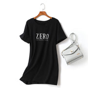 Ivy Plus Size Zero Short Sleeve T Shirt Dress (Black, White)