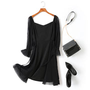 Isla Plus Size Black V Neck Tulle Sleeve Party Long Sleeve Dress