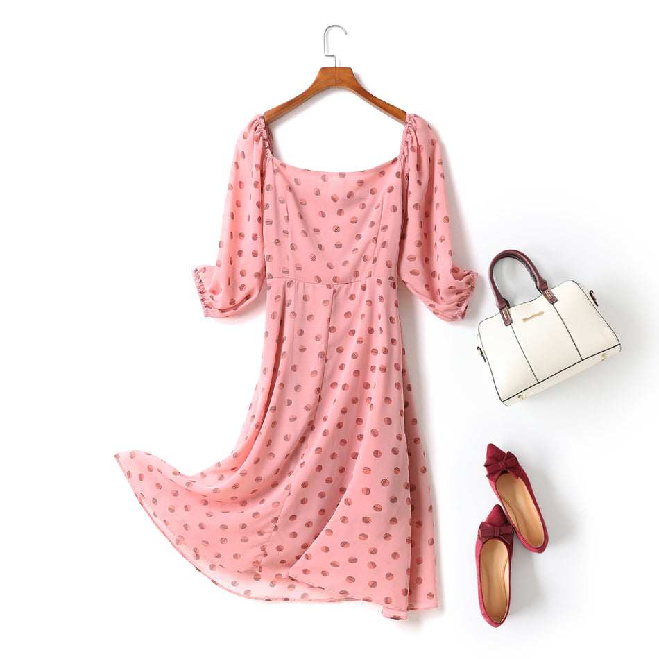 Dona Plus Size Pink Square Neck Buttons Polka Dots Mid Sleeve Midi Dress