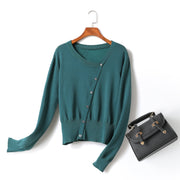 Colette Plus Size Asymmetric Buttons Knit Wear Long Sleeve Top (Green, Black)