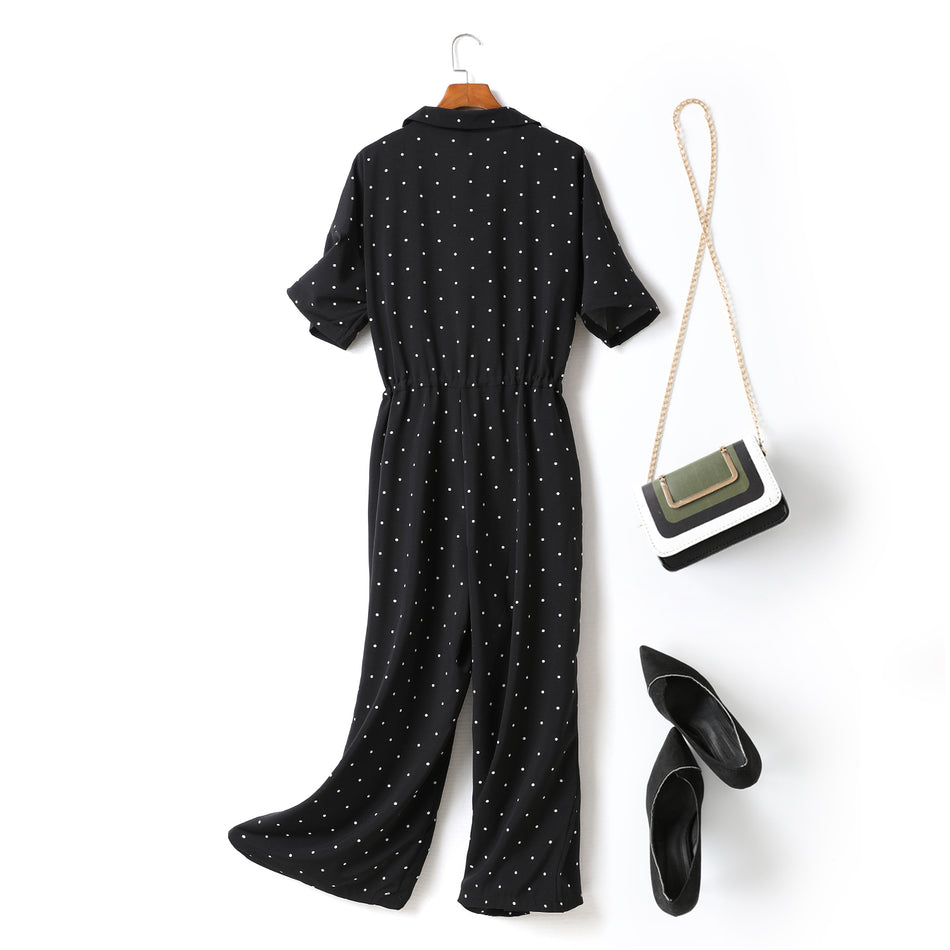 Celine Plus Size Black Polka Dots Print Tuxedo Collar V Neck Short Sleeve Wide Leg Jumpsuit Romper