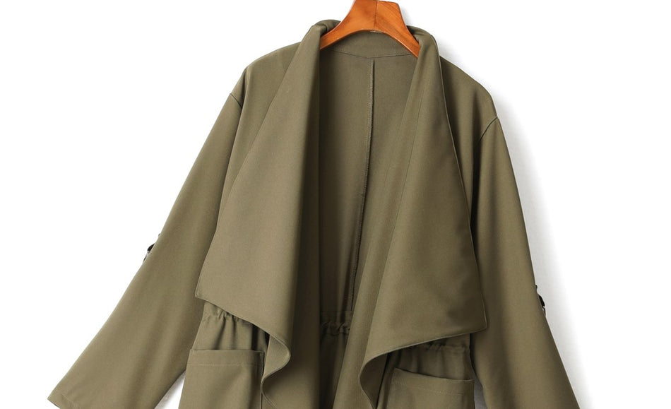 Rebecca Plus Size Trench Coat Jacket (Green, Pink, Beige, Black)