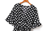 Iris Plus Size V Neck Wrap Neckline Polka Dots Short Sleeve Romper (Black, Green)  (Ready Stock Black XL - 1 Piece)