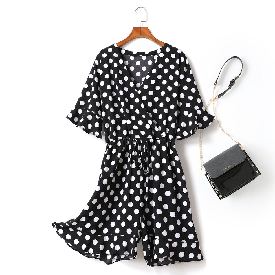plus size polka dots wrap romper
