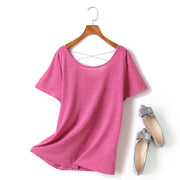 Ingrid Plus Size Criss Cross Round Neck Short Sleeve T Shirt Top (Black, White, Pink)(Ready Stock Pink 4XL - 1 Piece)