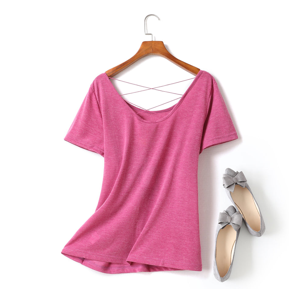 Ingrid Plus Size Criss Cross Round Neck Short Sleeve T Shirt Top (Black, White, Pink)  (Ready Stock Pink 4XL - 1 Piece)