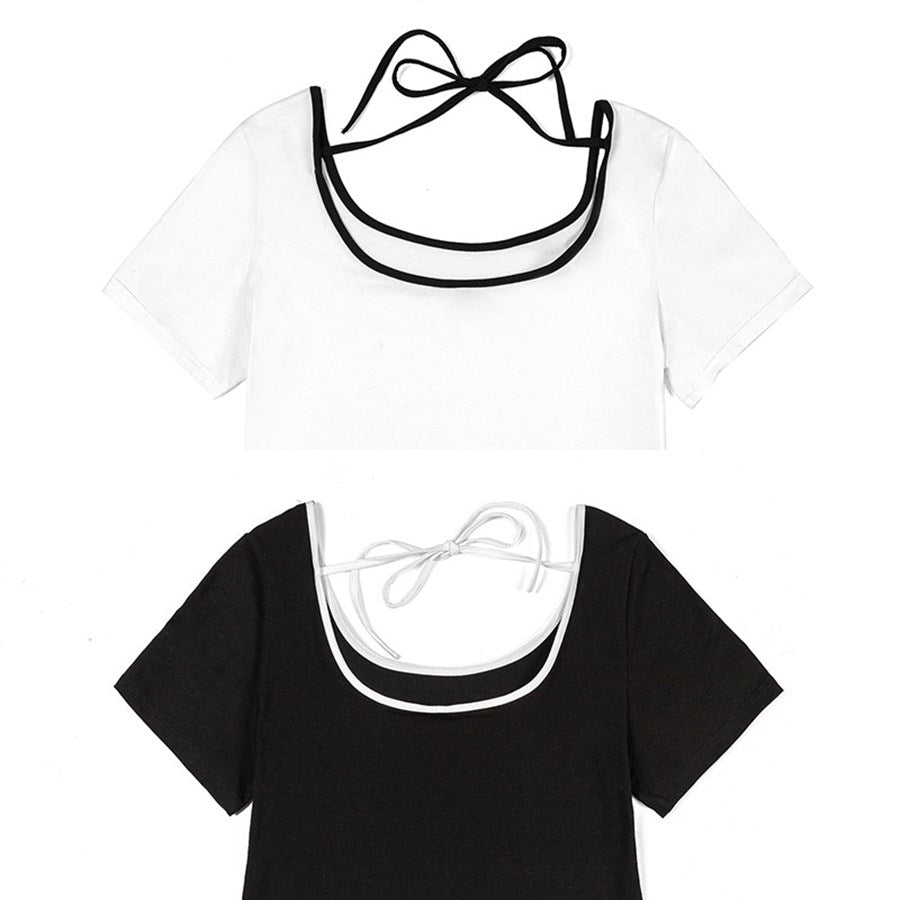 Rylee Plus Size Back Ribbon Short Sleeve T Shirt Top (White, Black)