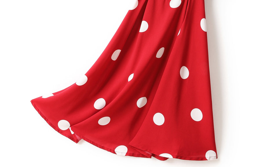 Holly Plus Size Square Neck Back Ribbon Tie Polka Dots Short Sleeve Midi Dress (Red, Black)