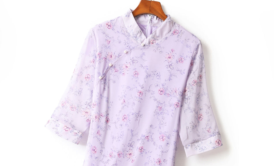 Gina Plus Size Floral Print Chiffon Cheongsam Qipao Mid Sleeve Dress (Purple)