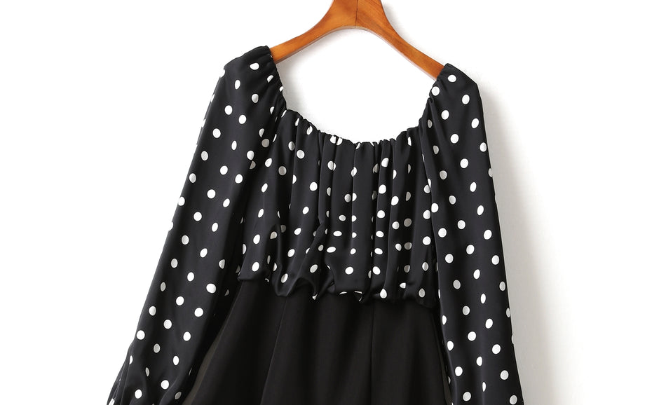 (2 Way Wear!) Hope Plus Size Polka Dots Colour Block Swing Off Shoulder Long Sleeve Dress (Black)