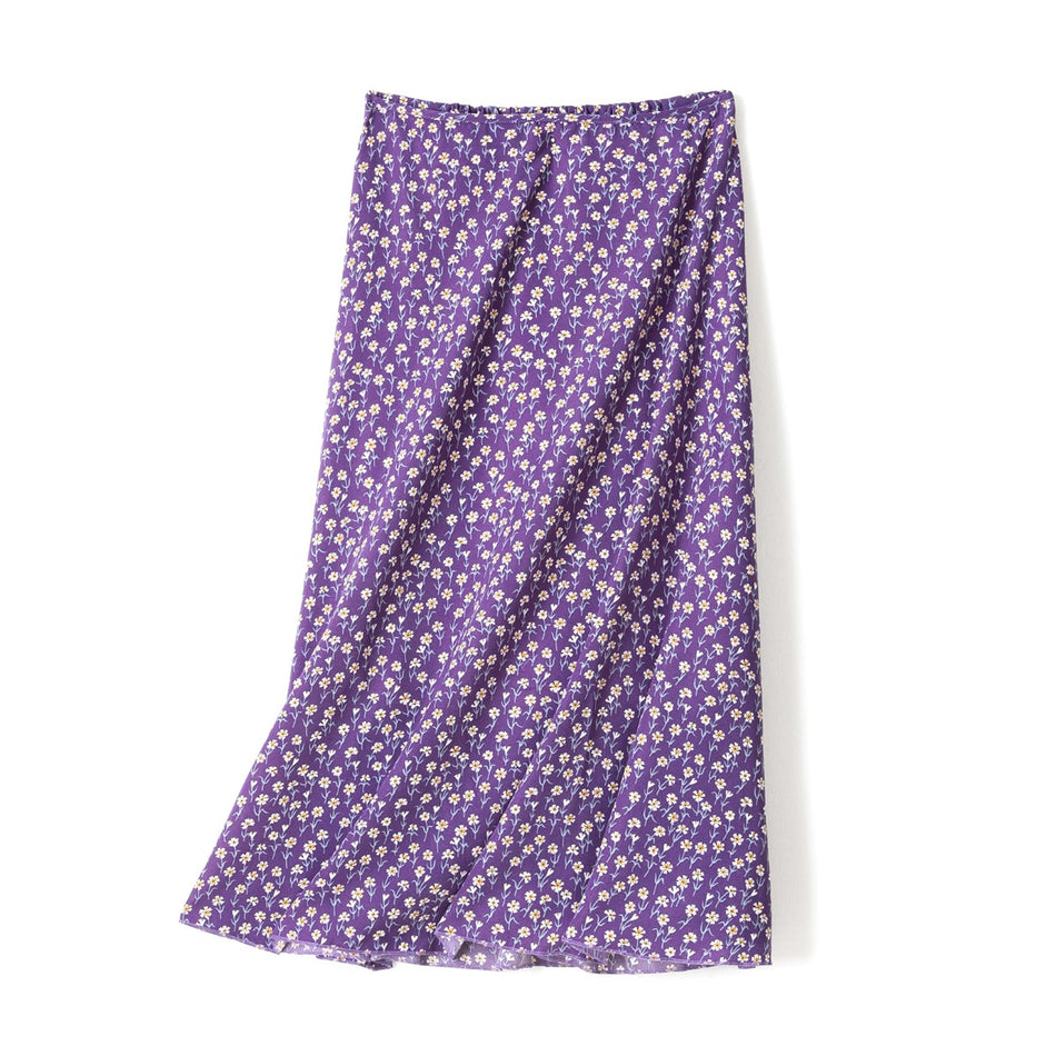 Rosalie Plus Size Vintage Cardigan and Floral Midi Skirt Co-ordinate 2 Piece Set (Purple, Black