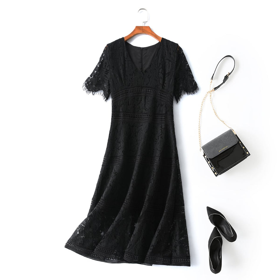 plus size black lace formal midi dress