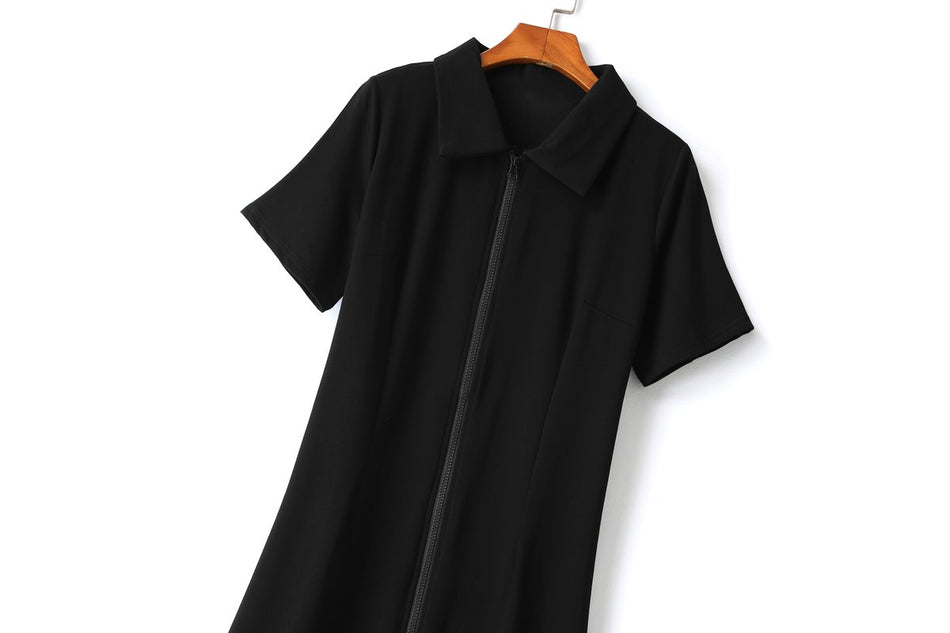 Etney Plus Size Black Polo T Shirt Dress