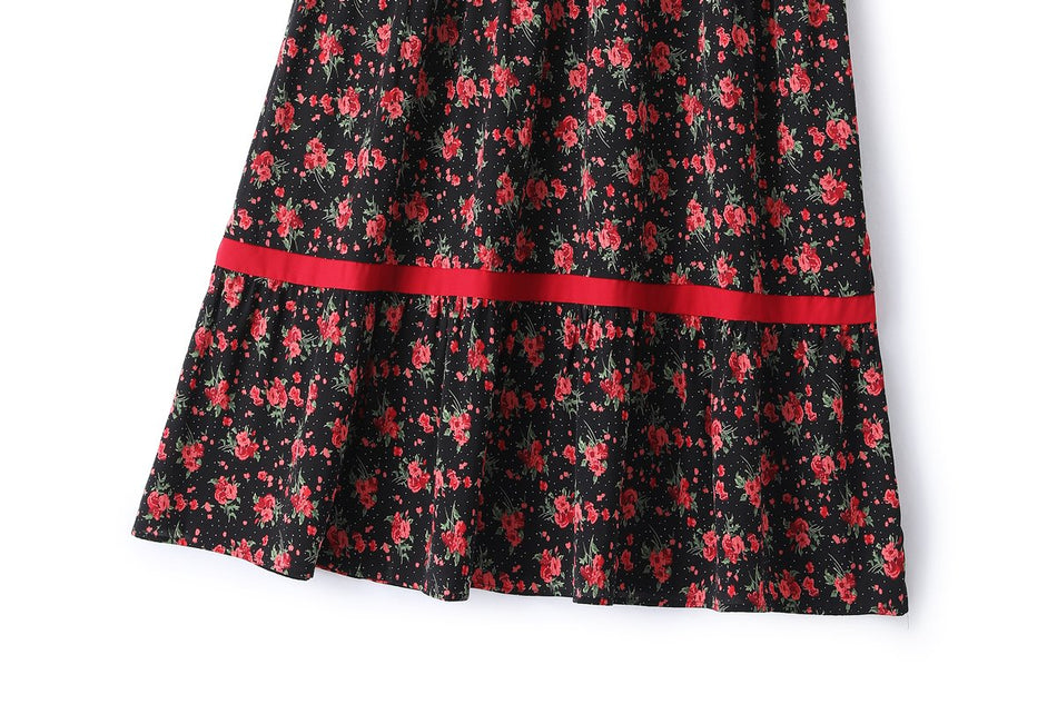 Danika Plus Size Black Red Floral Maxi Dress