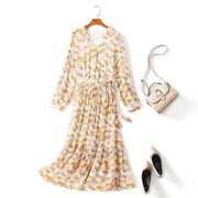 plus size boho wrap long sleeve midi dress