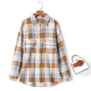 plus size fleece checked shirt