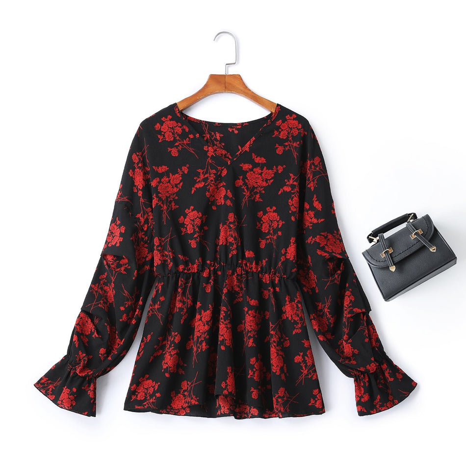 Plus Size Floral Long Sleeve Top