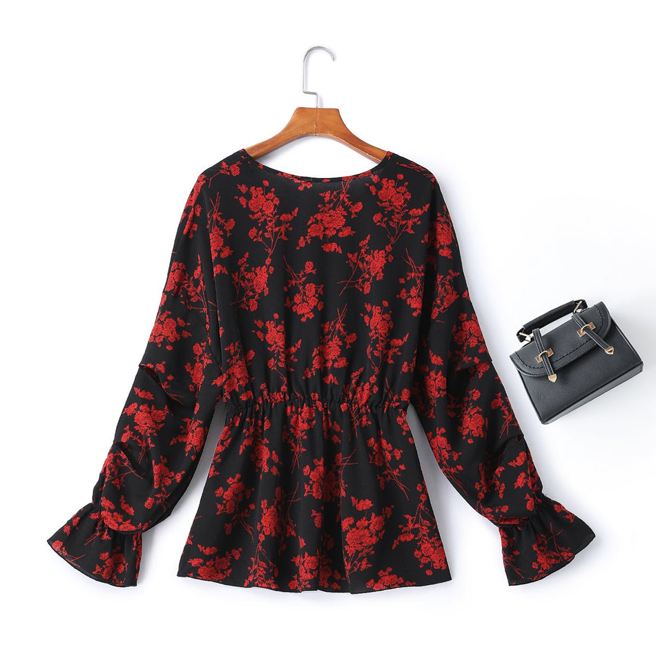 Ferna Plus Size Floral Long Sleeve Top