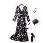 Plus Size Floral Wrap Midi Dress