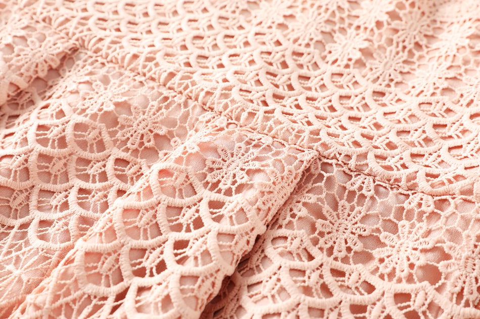 Queen Plus Size Pink Lace Formal Dress