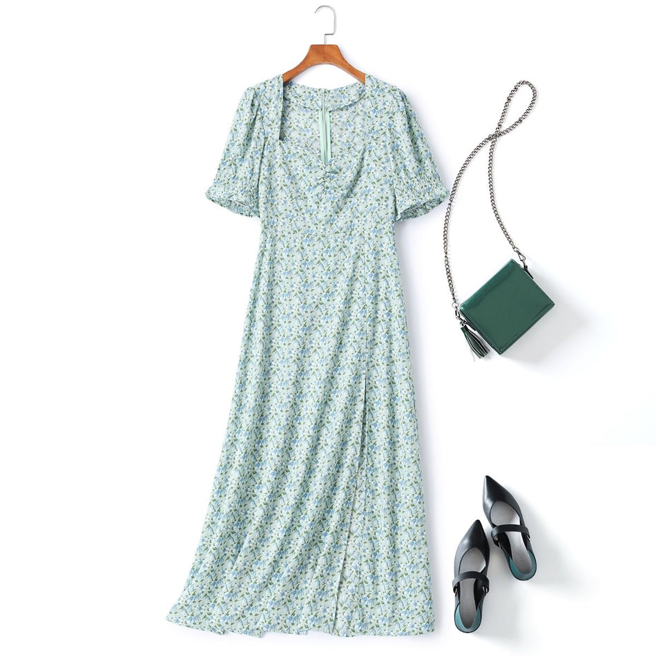 Plus Size Green Floral Maxi Dress