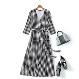Plus Size Houndstooth Wrap Midi Dress
