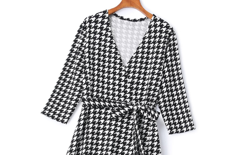 Delani Plus Size Houndstooth Wrap Midi Dress