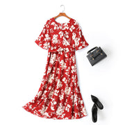 Madalene Plus Size Japanese Floral Wrap Midi Dress