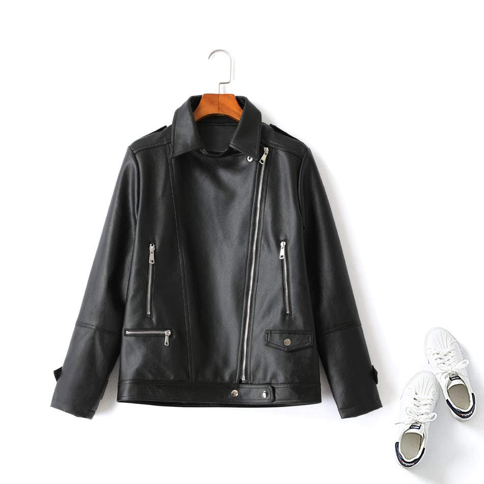 plus size pu leather jacket