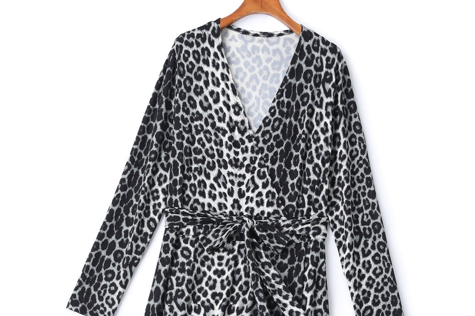 Dasha Plus Size Leopard Print Wrap Midi Dress