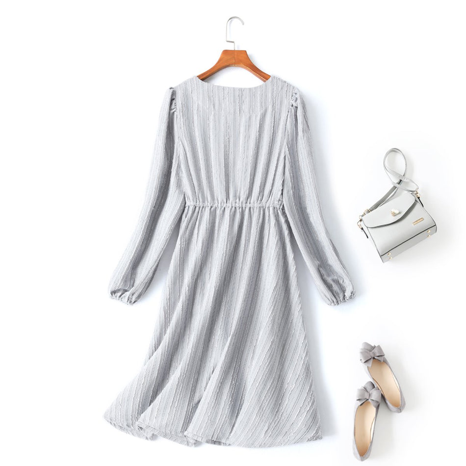 Opel Plus Size V Neck Long Sleeve Dress