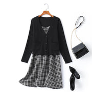 Gissel Plus Size Checked Dress and Cardigan Matching Set