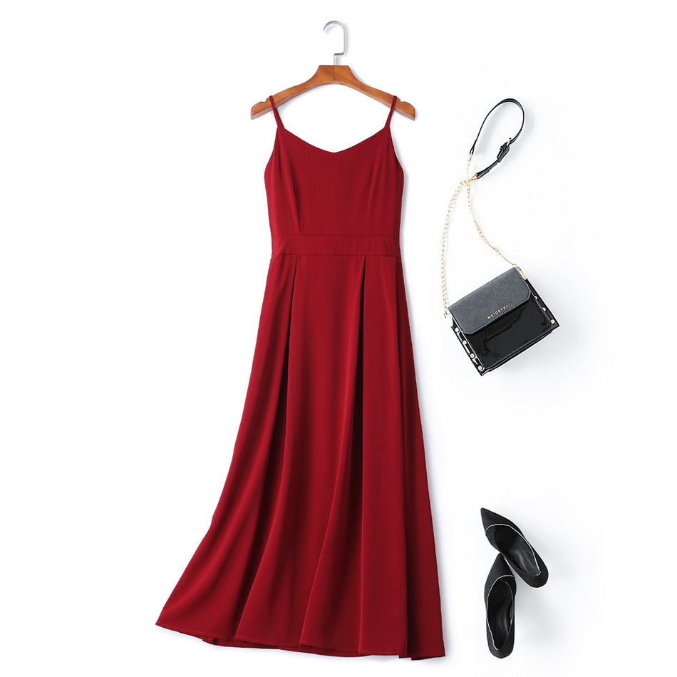 red plus size midi dress