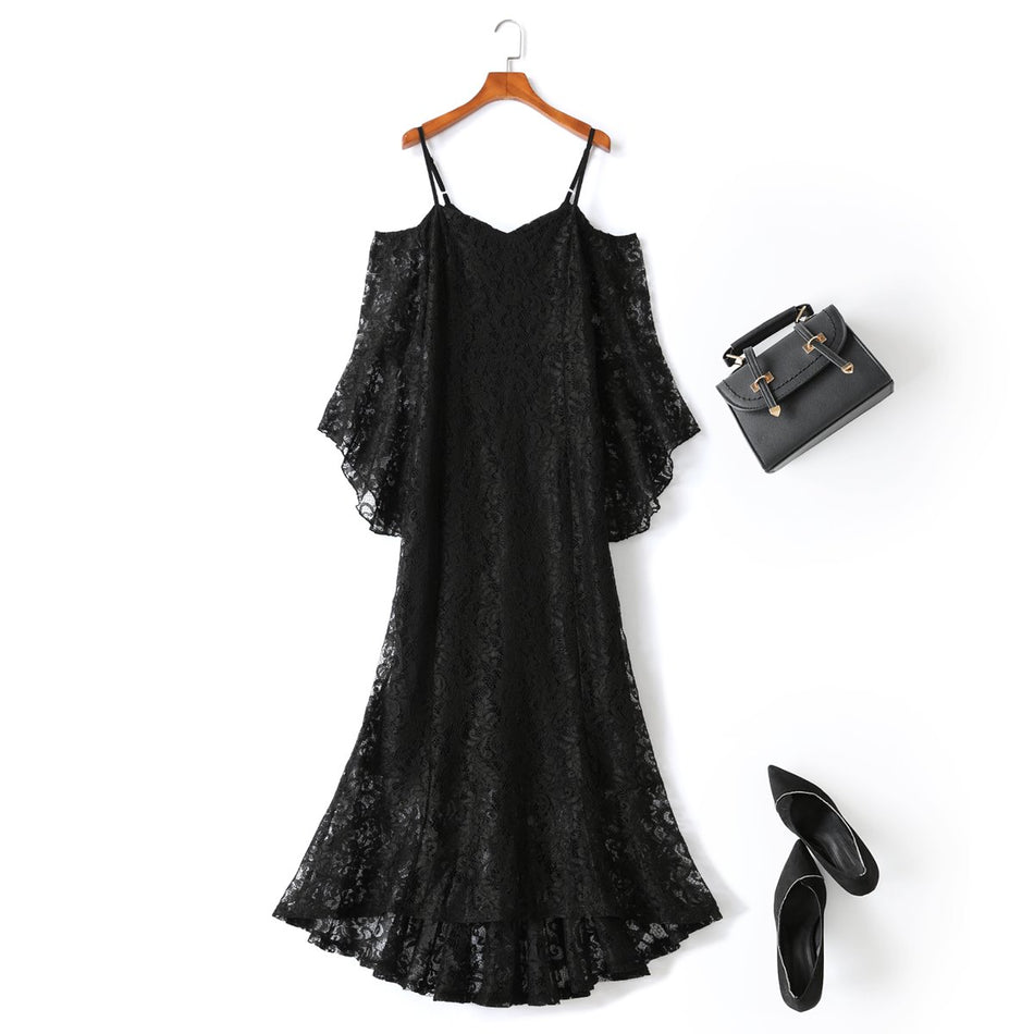 plus size black lace off the shoulder maxi evening dress
