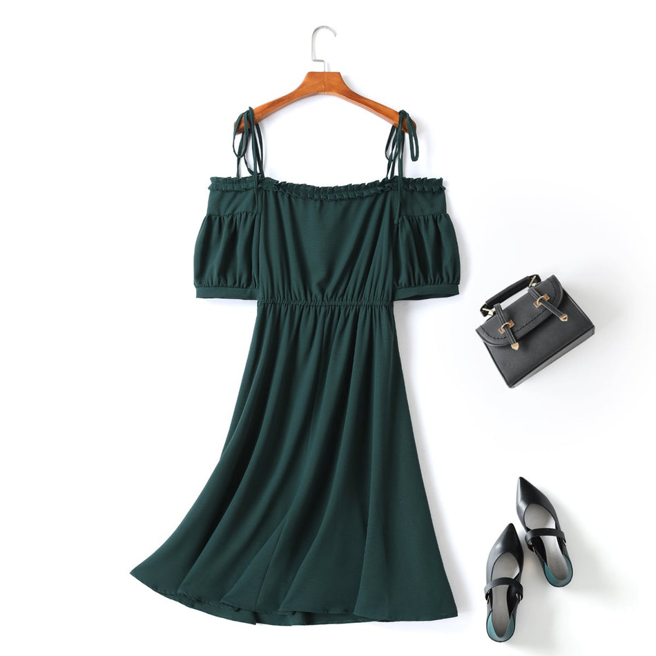 Franci Plus Size Vintage Puff Sleeve Off The Shoulder Midi Dress
