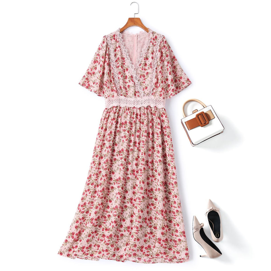 Plus Size Pink Floral Midi Dress