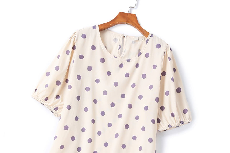 Brielle Plus Size Polka Dots Blouse and Dungaree Dress Set