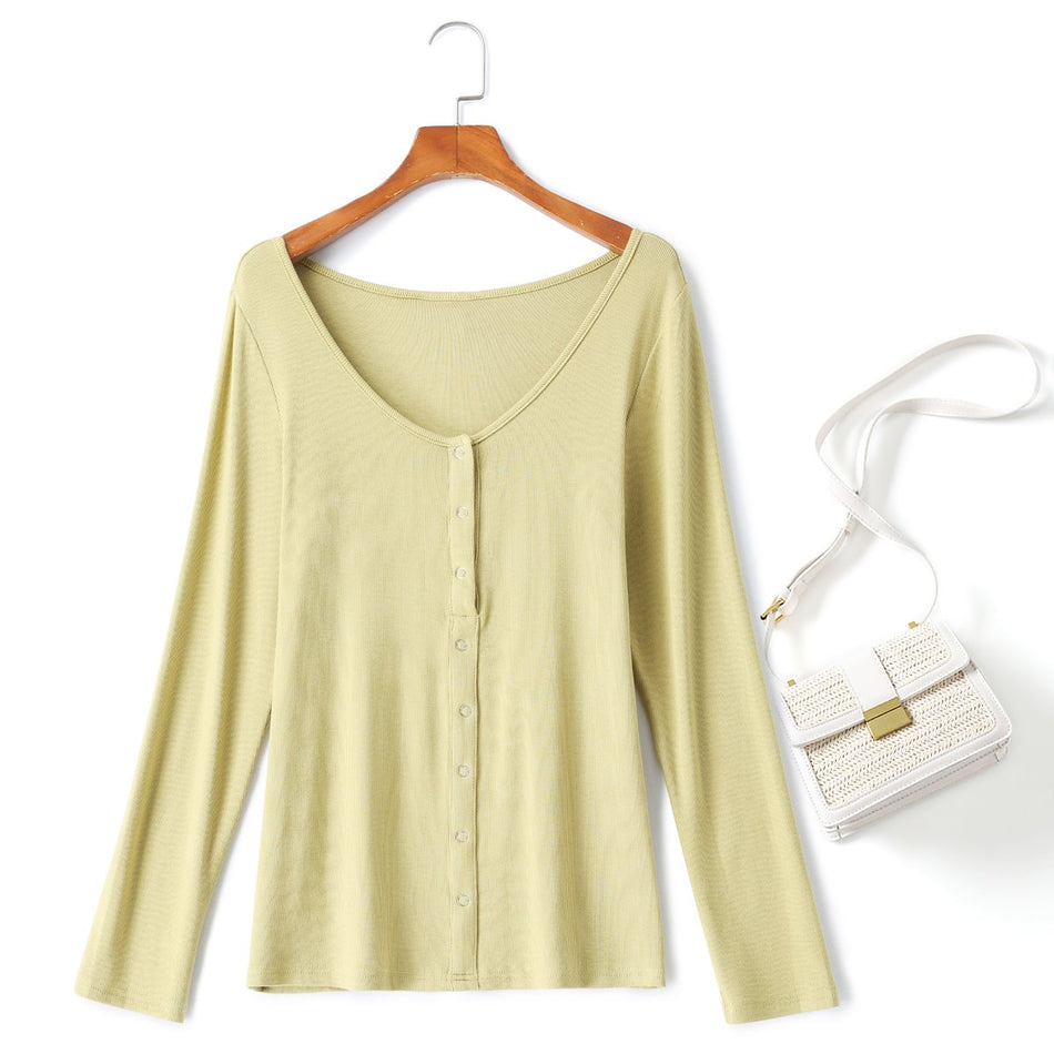 Plus Size Henley Long Sleeve T Shirt Top