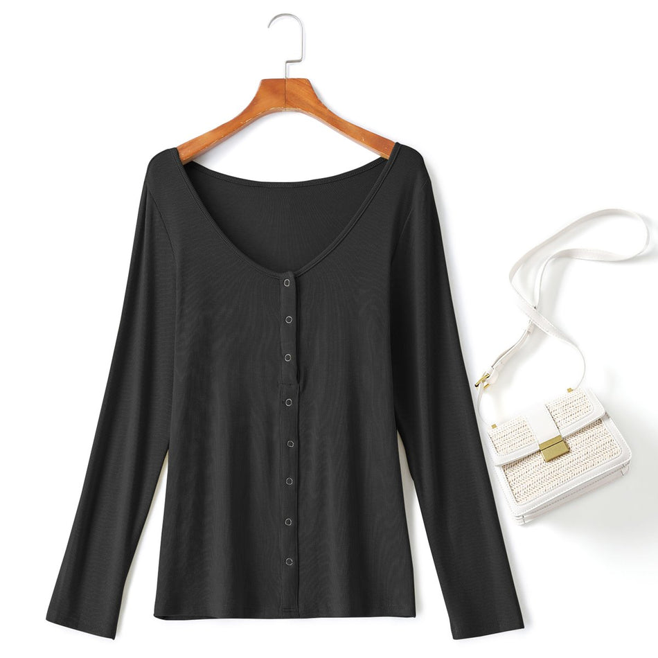 Plus Size Black Henley Long Sleeve T Shirt Top