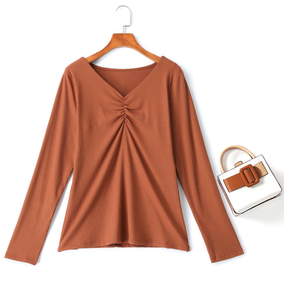 plus size ribbed knit long sleeve top