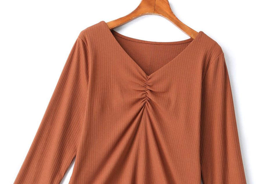 Rhea Plus Size Ribbed Knit Long Sleeve Top