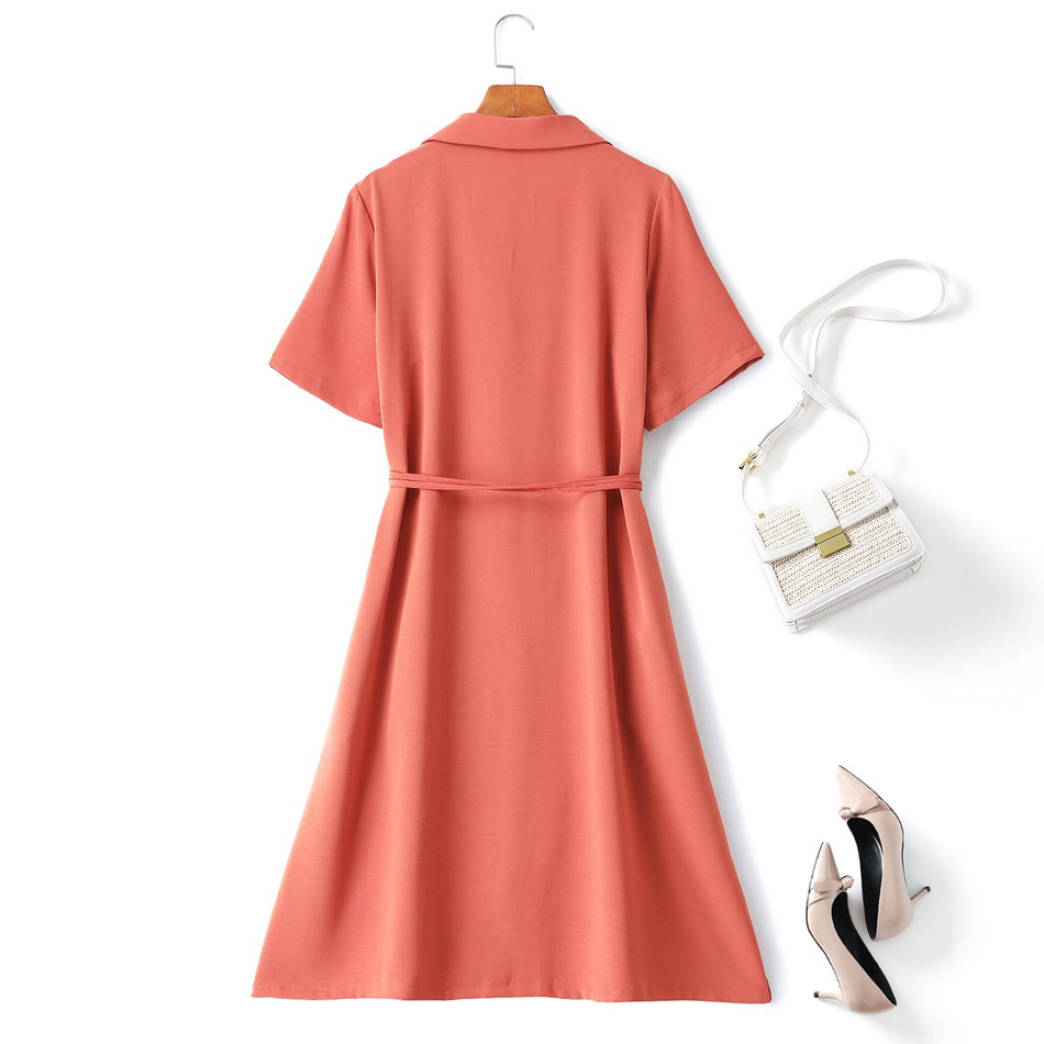 Selena Plus Size Trench Midi Shirt Dress