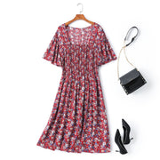 Faelyn Plus Size Red Floral Square Neck Dress