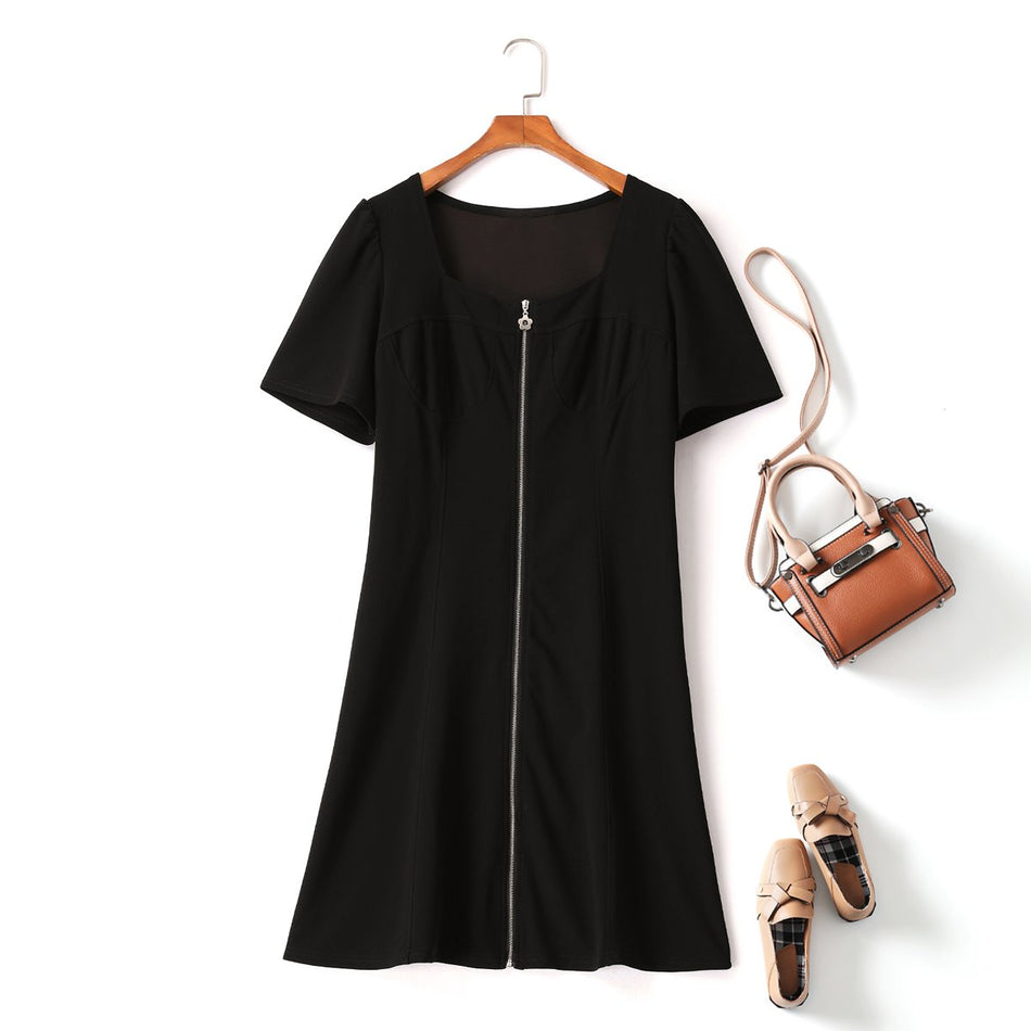 Plus Size Square Neck Puff Sleeve Zipper Dress