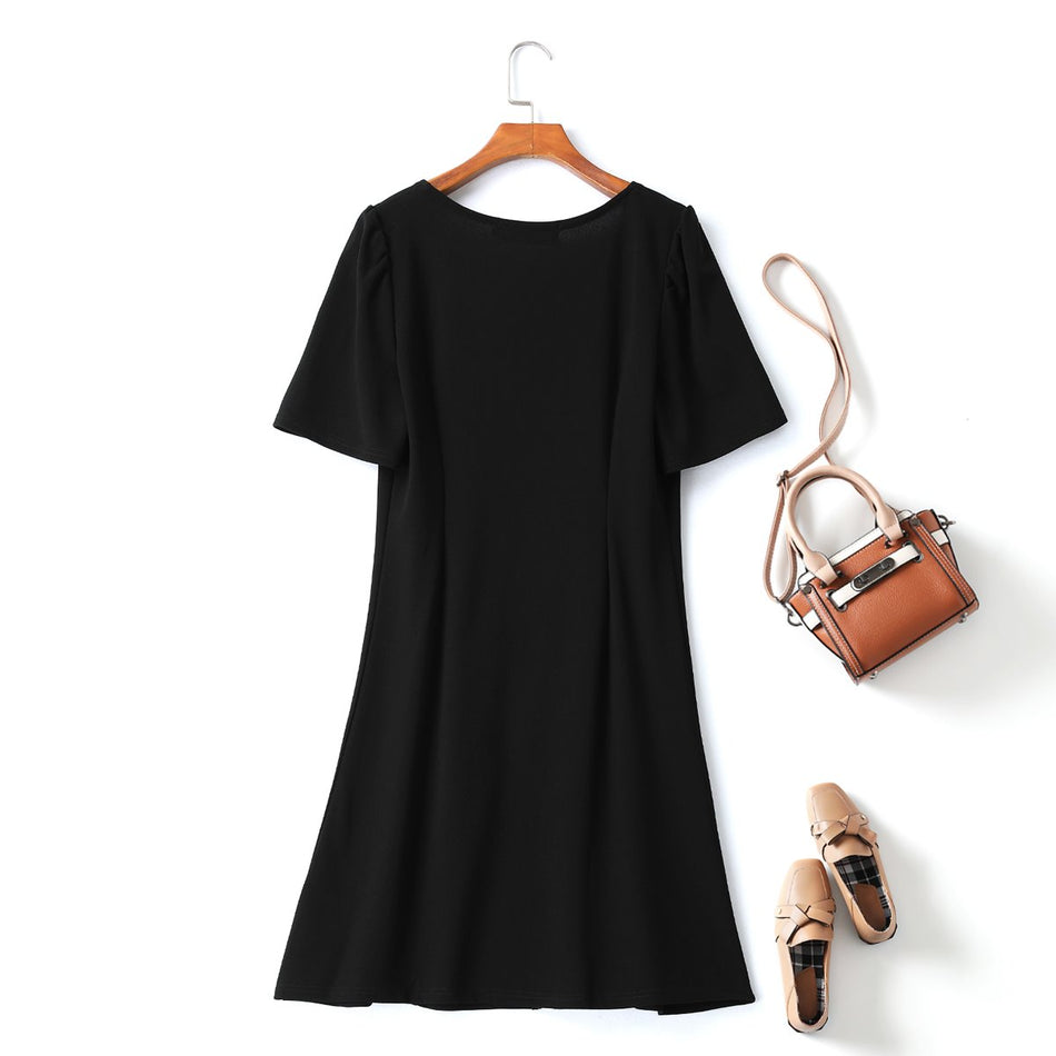 Marie Plus Size Square Neck Puff Sleeve Zipper Dress