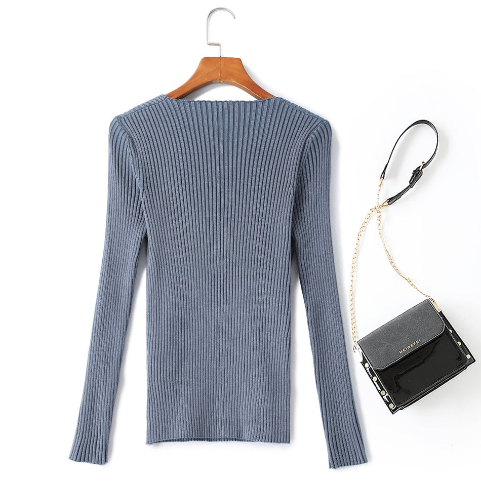 Sara Plus Size Wrap Knit Ribbed Sweater Top