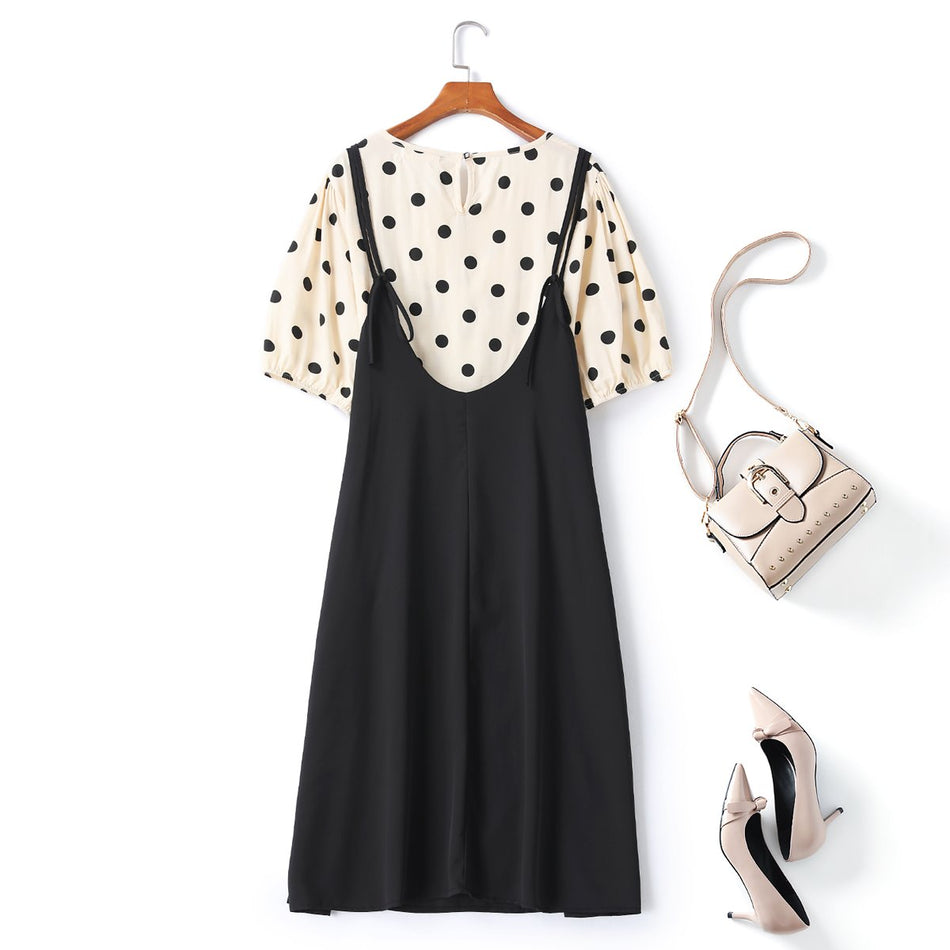 Zendaya Plus Size Polka Dots Blouse and Dungaree Dress Set