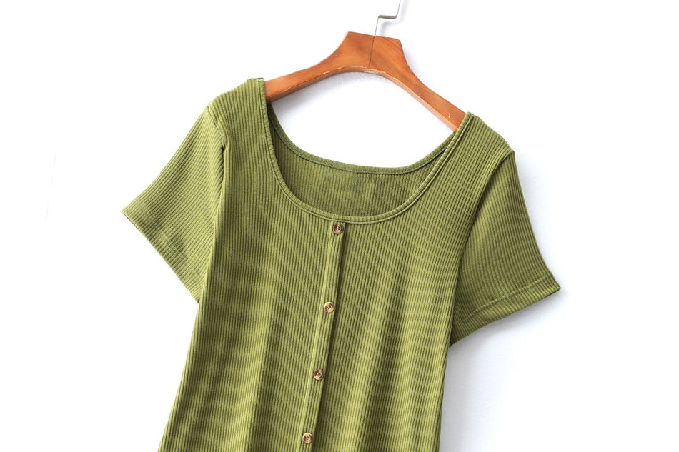 Patrice Plus Size Ribbed Buttons T Shirt Top