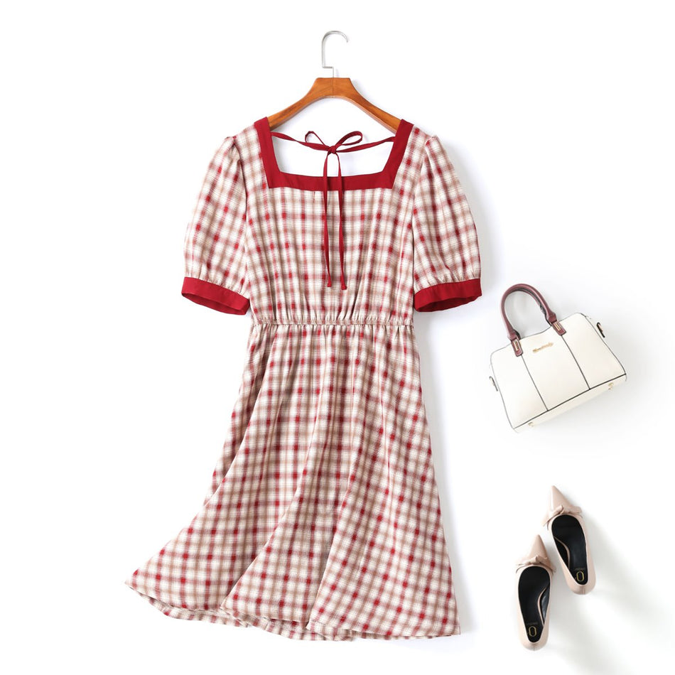 Fonda Plus Size Vintage Square Neck Checked Dress